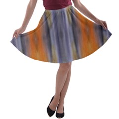 Gray Orange Stripes Painting A-line Skater Skirt
