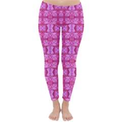 Pretty Pink Flower Pattern Winter Leggings