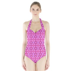 Pretty Pink Flower Pattern Women s Halter One Piece Swimsuit