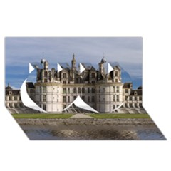 Chambord Castle Twin Hearts 3d Greeting Card (8x4)