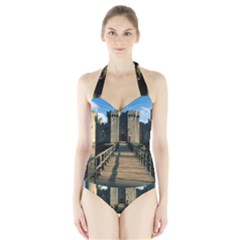 BODIAM CASTLE Women s Halter One Piece Swimsuit
