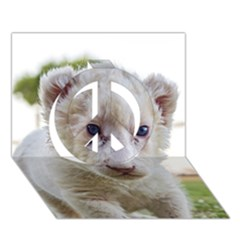 White Lion Cub Peace Sign 3d Greeting Card (7x5)