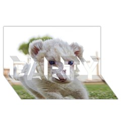 White Lion Cub Party 3d Greeting Card (8x4)