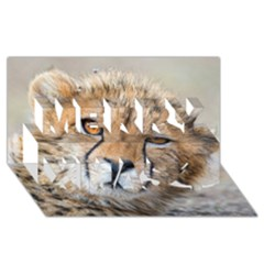 Leopard Laying Down Merry Xmas 3d Greeting Card (8x4)