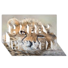 Leopard Laying Down Happy New Year 3d Greeting Card (8x4)