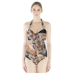 BABY TIGERS Women s Halter One Piece Swimsuit