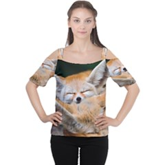 BABY FOX SLEEPING Women s Cutout Shoulder Tee