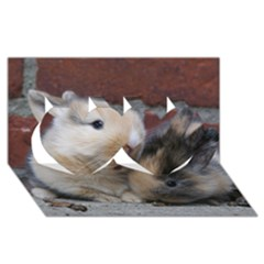 Small Baby Rabbits Twin Hearts 3d Greeting Card (8x4)
