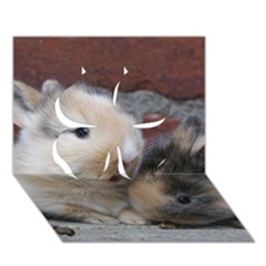 Small Baby Rabbits Clover 3d Greeting Card (7x5)
