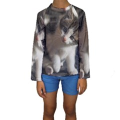 QUESTIONING KITTY Kid s Long Sleeve Swimwear