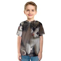 QUESTIONING KITTY Kid s Sport Mesh Tees