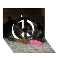 Puppy With A Chew Toy Peace Sign 3d Greeting Card (7x5)