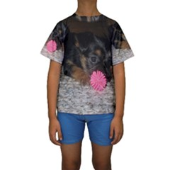 PUPPY WITH A CHEW TOY Kid s Short Sleeve Swimwear
