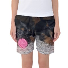 Puppy With A Chew Toy Women s Basketball Shorts