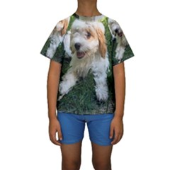 Cute Cavapoo Puppy Kid s Short Sleeve Swimwear