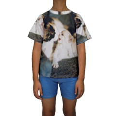 CALICO CAT AND WHITE KITTY Kid s Short Sleeve Swimwear