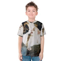 CALICO CAT AND WHITE KITTY Kid s Cotton Tee