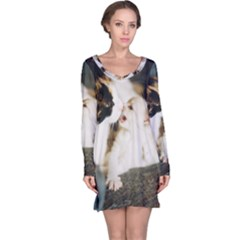 Calico Cat And White Kitty Long Sleeve Nightdresses