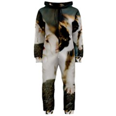 Calico Cat And White Kitty Hooded Jumpsuit (ladies)