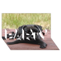 Alert Pug Puppy Party 3d Greeting Card (8x4)