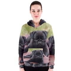 Alert Pug Puppy Women s Zipper Hoodies