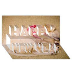 Adorable Sleeping Puppy Happy New Year 3d Greeting Card (8x4)