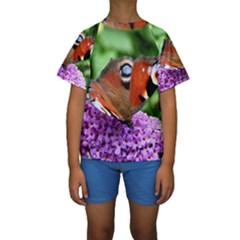 Peacock Butterfly Kid s Short Sleeve Swimwear