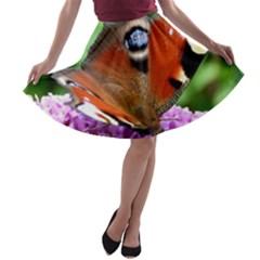 PEACOCK BUTTERFLY A-line Skater Skirt