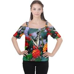 BUTTERFLY FLOWERS 1 Women s Cutout Shoulder Tee