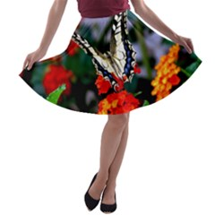 BUTTERFLY FLOWERS 1 A-line Skater Skirt