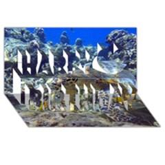 Sea Turtle Happy Birthday 3d Greeting Card (8x4)
