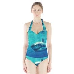 GREAT WHITE SHARK 1 Women s Halter One Piece Swimsuit