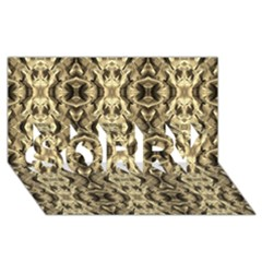Gold Fabric Pattern Design Sorry 3d Greeting Card (8x4)
