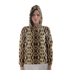 Gold Fabric Pattern Design Hooded Wind Breaker (Women)