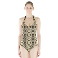 Gold Fabric Pattern Design Women s Halter One Piece Swimsuit