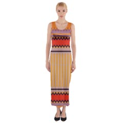 Stripes and chevrons Fitted Maxi Dress