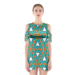 Triangles and other shapes pattern Women s Cutout Shoulder Dress