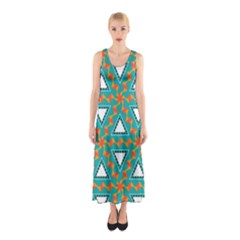 Triangles and other shapes pattern Full Print Maxi Dress