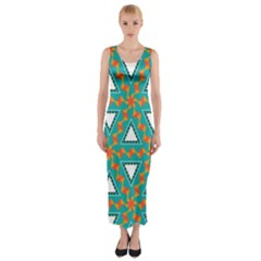 Triangles And Other Shapes Pattern Fitted Maxi Dress