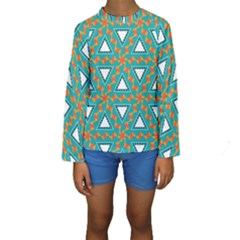 Triangles And Other Shapes Pattern  Kid s Long Sleeve Swimwear