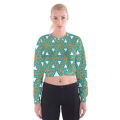 Triangles and other shapes pattern   Women s Cropped Sweatshirt