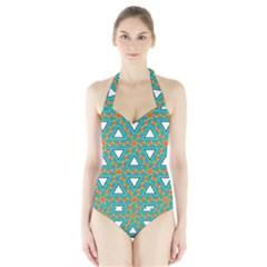 Triangles and other shapes pattern Women s Halter One Piece Swimsuit