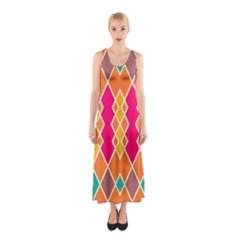 Symmetric Rhombus Design Full Print Maxi Dress