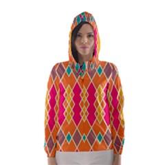 Symmetric rhombus design Hooded Wind Breaker (Women)