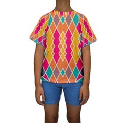 Symmetric rhombus design  Kid s Short Sleeve Swimwear