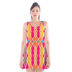 Symmetric rhombus design Scoop Neck Skater Dress