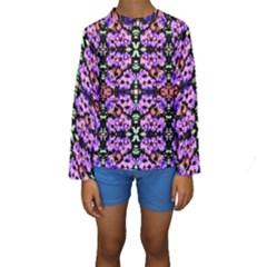 Purple Green Flowers With Green Kid s Long Sleeve Swimwear