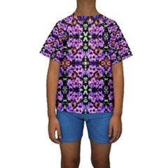 Purple Green Flowers With Green Kid s Short Sleeve Swimwear