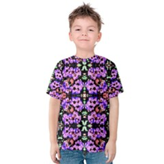Purple Green Flowers With Green Kid s Cotton Tee