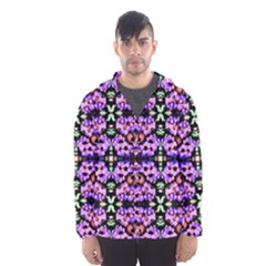Purple Green Flowers With Green Hooded Wind Breaker (Men)
